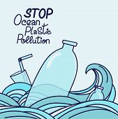 Save The Ocean Hand Drawn Lettering. Plastic Garbage, Bottle, Plastic Conteners, Straws And Cutlery  poster