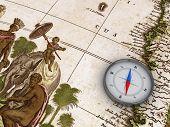 Kompass auf die Karte 3d Objekt-Serie
