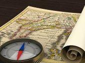 Alte Karte und Kompass auf dem Tisch