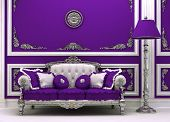 Luxury Sofa With Lamp In Magnificence Interior