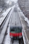 Motion Blur Of A Red Train