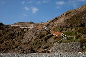 pic of mudslide  - A steep grass bank with a mudslide and damage to a set of steps leading to a beach - JPG
