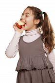 little girl and tasty apple
