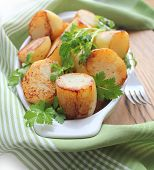 Fresh potatoes fried