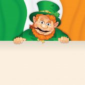 Cartoon Leprechaun with Sign over Irish Flag. St Patrick's Day Illustration