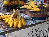Street Food: Grilled Sticky Rice On Stick