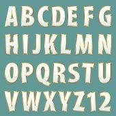 vector golden alphabet painted in white