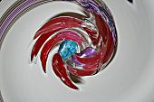 Colorful abstract flying red parrot