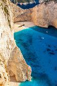 Amazing Beach Navagio In Zakynthos, Greece