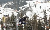 BUKOVEL, UKRAINE - FEBRUARY 23: Jonathon Lillis, USA performs aerial skiing during Freestyle Ski Wor