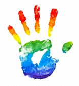 Rainbow Painted Hand Shape