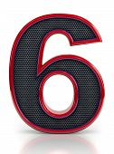 Number 6 symbol with grille mesh inside isolated on white background.