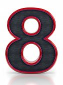 Number 8 symbol with grille mesh inside isolated on white background.