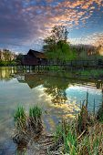 Small Danube In Slovakia With Watermill.