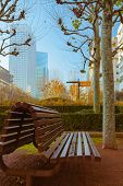 Vacant Bench In A Business Area With Skyscrapers And Blue Sky In The Background