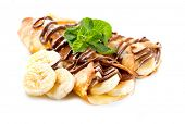 Crepes com Banana e Chocolate