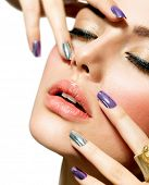 foto of long nails  - Beautiful Fashion Girl - JPG
