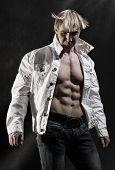 Muscular man with open shirt