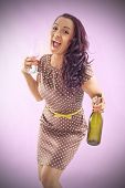 Curly  Women With Bottle
