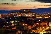 Night View Of The City Of Ohrid And The Samuil's Fortress, Macedonia