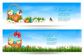 stock photo of easter decoration  - Easter banners with Easter eggs in basket and flowers - JPG