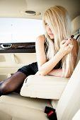 Lingerie in a luxury car