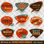 stock photo of 1950s style  - Vintage Style Speech Bubbles Cards - JPG