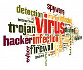 stock photo of computer hacker  - Computer virus concept in word tag cloud on white background - JPG