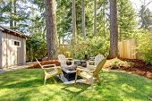 Home Exterior Backyard With Chairs And Pine Trees.