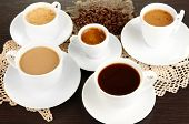 picture of coffee crop  - Assortment of different hot coffee drinks close up - JPG
