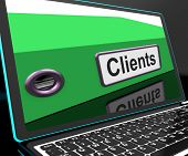 picture of patron  - Clients File On Laptop Shows Customers Records Or Patrons - JPG