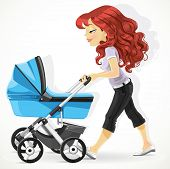 Cute mother with a blue pram on walk isolated on white background