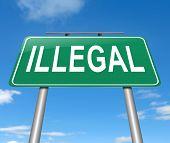 stock photo of smuggling  - Illustration depicting a sign with an illegal concept - JPG