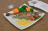 Baked Sea Bass With Broccoli And Carrots