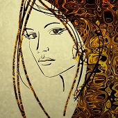 art colorful sketching beautiful girl face with golden hair on white background