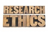 research ethics -  isolated text in letterpress wood type printing blocks