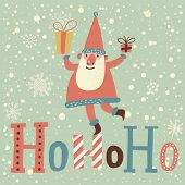 Funny Santa Claus with gifts on HoHoHo text in vector. Cute cartoon Christmas card in pastel colors