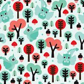 Seamless dragon woodland illustration kids background pattern in vector