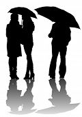 Vector drawing men and women with umbrellas. Property release is attached to the file