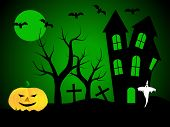 A halloween  illustration with a ghost  in front of a haunted house