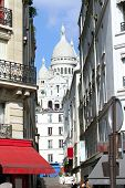 Montmartre Street In The Paris, France
