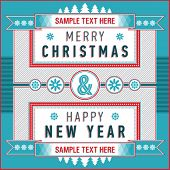 Vintage Christmas & New Year card with inscription on a striped background. Vector illustration.