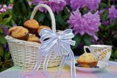 pic of tea party  - A wicker basket filled with fresh blueberry muffins in a garden - JPG