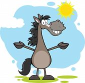 Smiling Grey Horse Cartoon Character With Open Arms Over Landscape