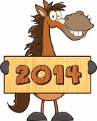 Horse Cartoon Mascot Character Holding A Wood Banner With Text