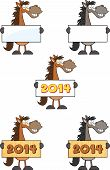 Horses Cartoon Mascot Characters Collection Set