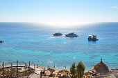 Sharm El Sheikh, Egypt -  December 1: Snorkeling Tourists And Motor Yachts On Red Sea On December 1,