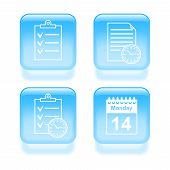 Glassy Schedule Icons. Vector Illustration