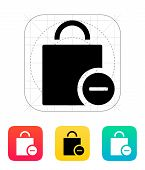 Handbag remove goods icon.