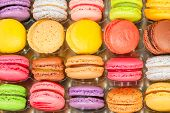 traditional french colorful macarons in a rows in a box